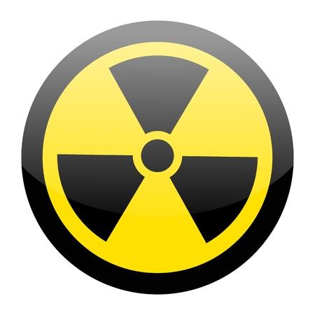 radioattivo: Segno di radiazioni su bianco Vettoriali