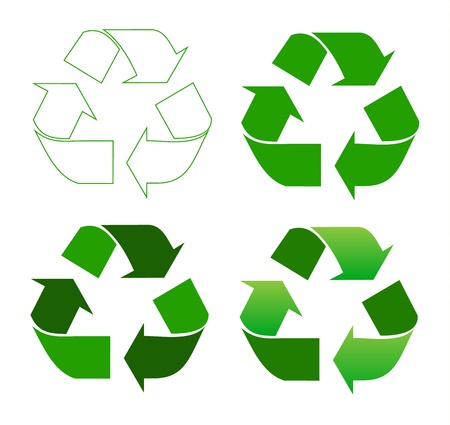Set of recycle sign on white Stock Vector - 14122129