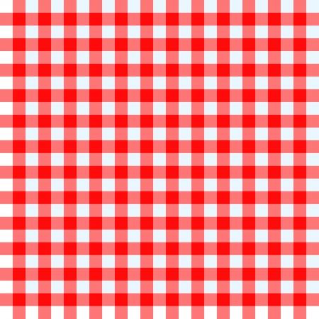 빨간색과 흰색 식탁보를 확인