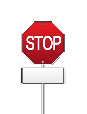 Red traffic stop sign on white Vector