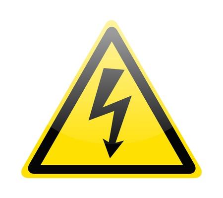 electricidad industrial: Firma del s�mbolo de peligro alto voltaje aislado en blanco