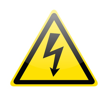 volts: Sign of danger high voltage symbol isolated on white Illustration