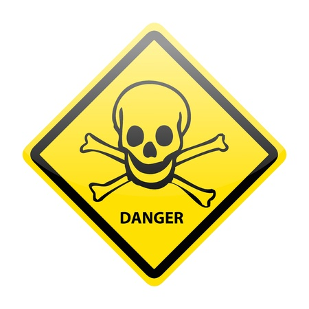 Skull danger sign on white Vector