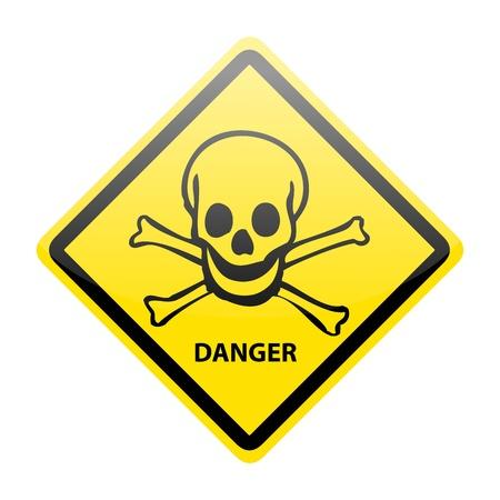 Skull danger sign on white Illustration