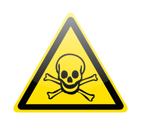 electricity danger of death: Skull danger signs on white