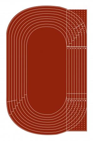 running track: Standaard atletiekbaan op wit Stock Illustratie