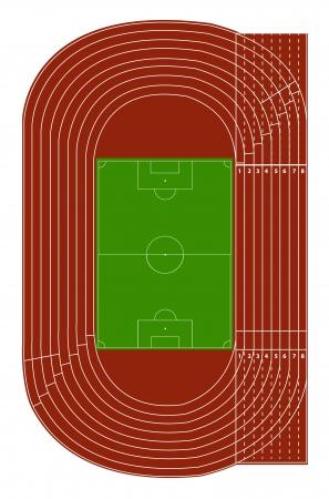 Bovenaanzicht van atletiekbaan en voetbalveld op wit