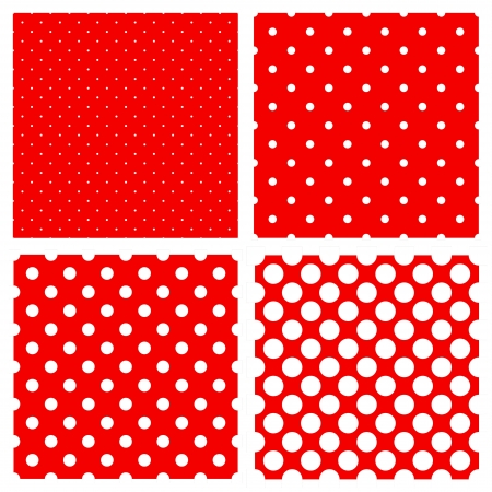 White polka dots pattern on red background