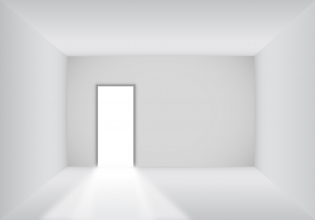 Blank room with open door background Vector
