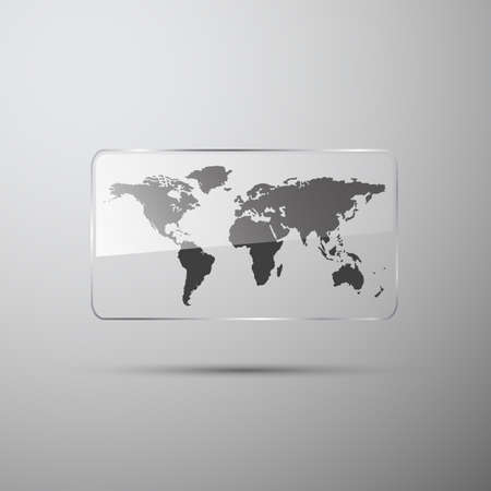 World map in the glass on gray Illustration