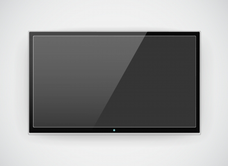 hd tv: Black LCD or LED tv screen hanging on a wall background