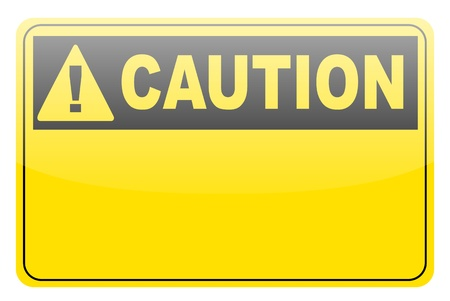 Blank yellow caution label sign on white photo