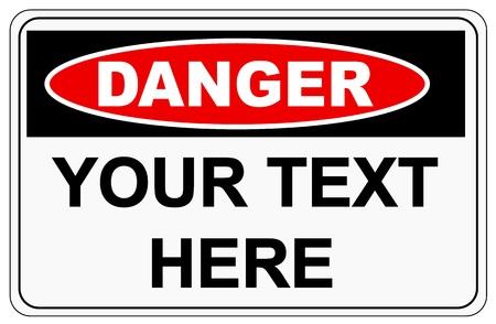 danger: Danger sign label on white