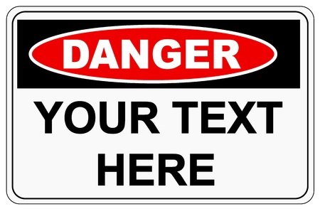 road safety: Danger sign label on white