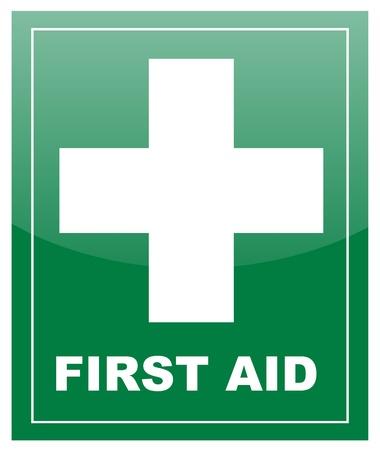 primeramente: De primeros auxilios con la cruz blanca en la etiqueta verde