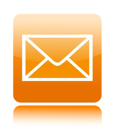 e mail: Mail button icon on white Stock Photo
