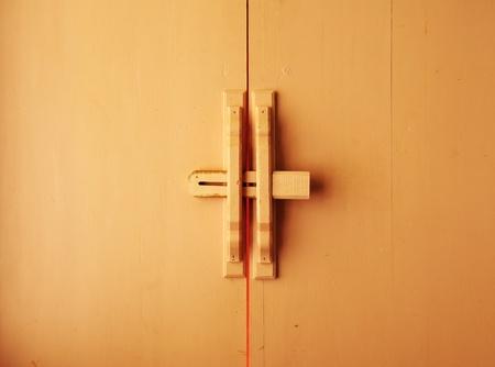Thai style wood door background photo
