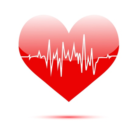 Cardiogram on red heart shape photo