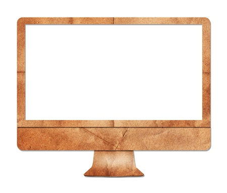 Computer display paper craft on white