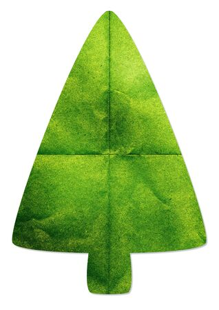 paper craft: Green tree made by recycled paper craft on white background