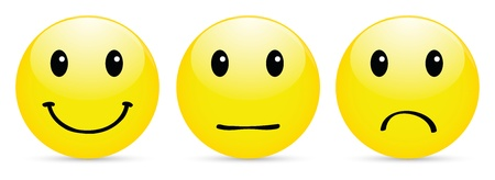 Set of smiley icon on white photo