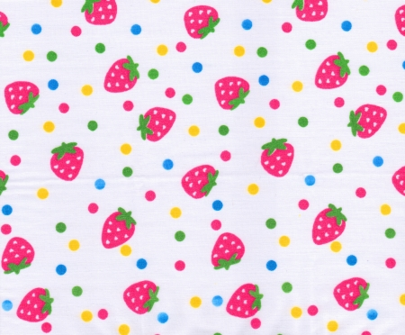 Strawberry pattern on white fabric background photo