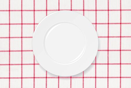 White plate on red and white tablecloth background Stock Photo - 15442181