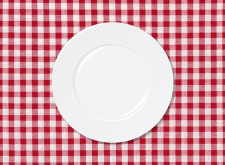 White plate on red and white striped seamless tablecloth background Stock Photo - 15680540