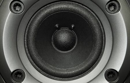 Close up of black bass speaker photo
