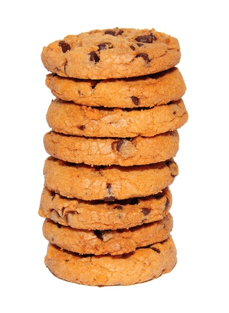 Chocolate chips cookies stack on white photo