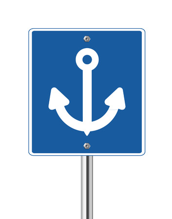 traffic pole: Anchor sign on blue traffic pole