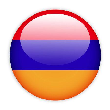 Armenia flag button on white photo