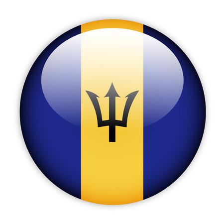 barbados: Barbados flag button on white Stock Photo