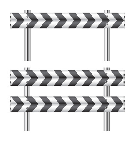 Black and white construction barricade on white photo
