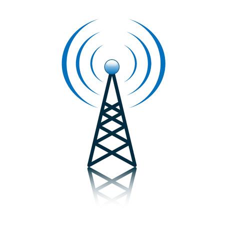 mast cell: Blue antenna mast sign on white Stock Photo