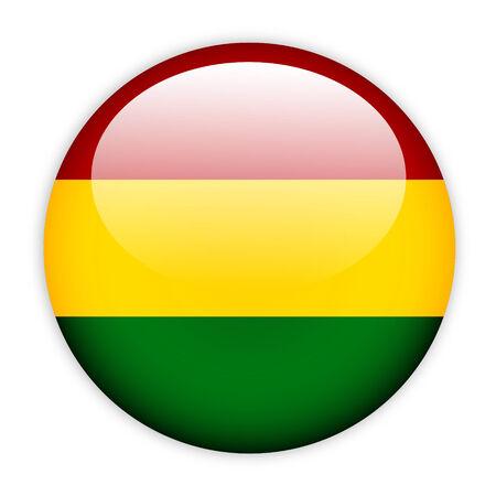 bandera de bolivia: Bot�n del indicador de Bolivia en blanco Foto de archivo