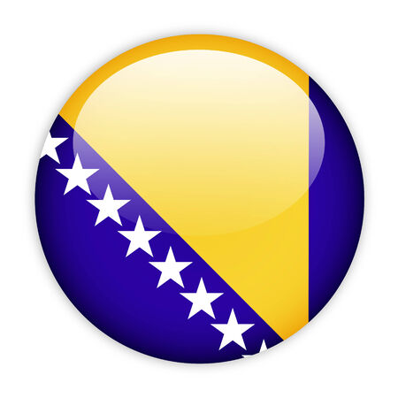 Bosnia and Herzegovina flag button on white photo
