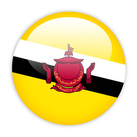 Brunei flag button on white photo