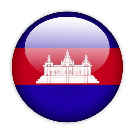 Cambodia flag button on white photo