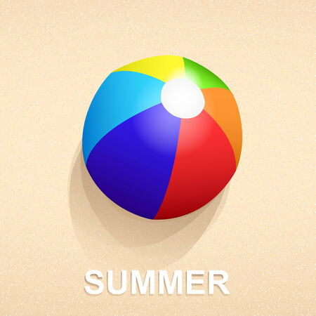 vocation: Colorful ball on beach sand in summer vocation Stock Photo