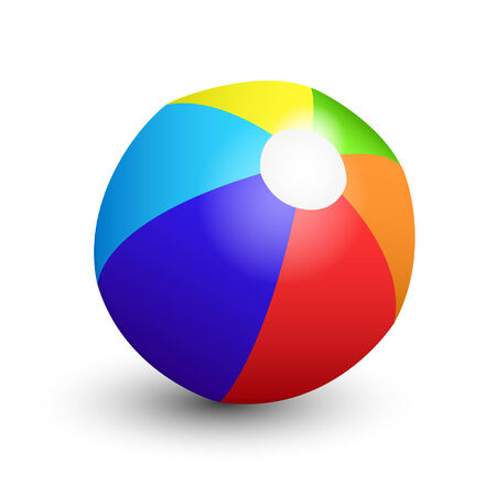 Colorful beach ball on white background photo