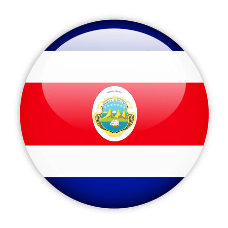 Costa rica flag button on white photo