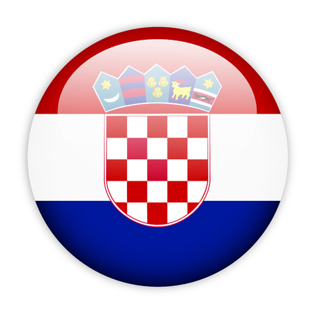 Croatia flag button on white photo