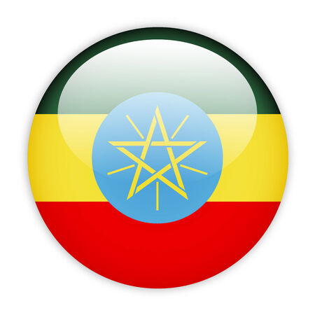 Ethiopia flag button on white photo