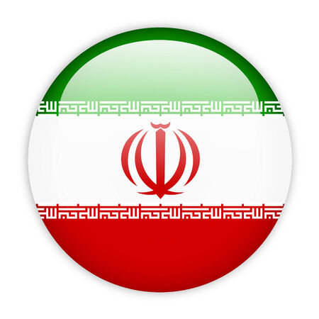 Iran flag button on white photo