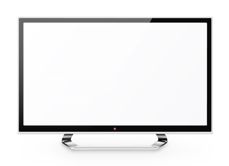 lcd: Frontal view of  led or lcd internet tv monitor isolated on white background