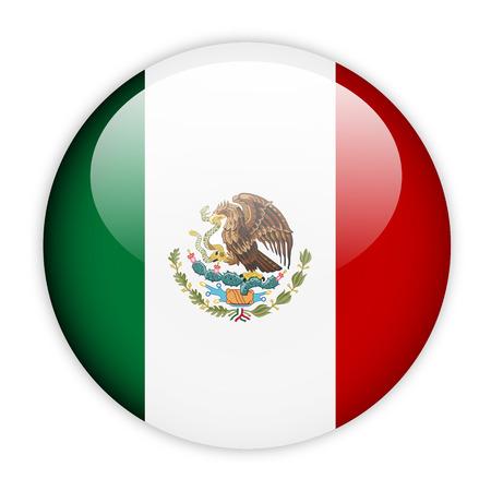 Mexico flag button on white photo