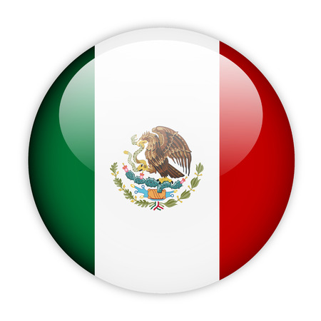 Mexico flag button on white photo