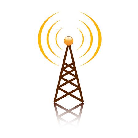 Antenne orange signe mât sur blanc Banque d'images - 28973906