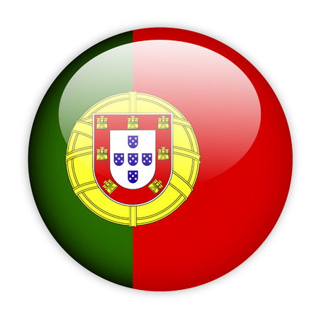 Portugal flag button on white photo